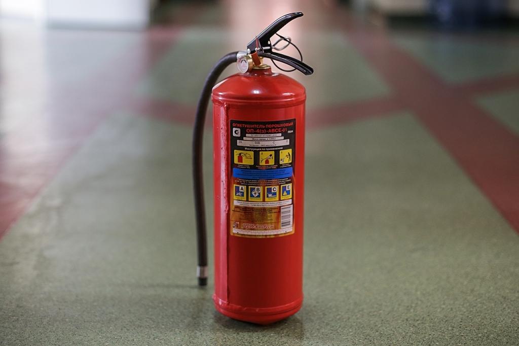 В Рубцовске студентов научили как правильно пользоваться огнетушителем